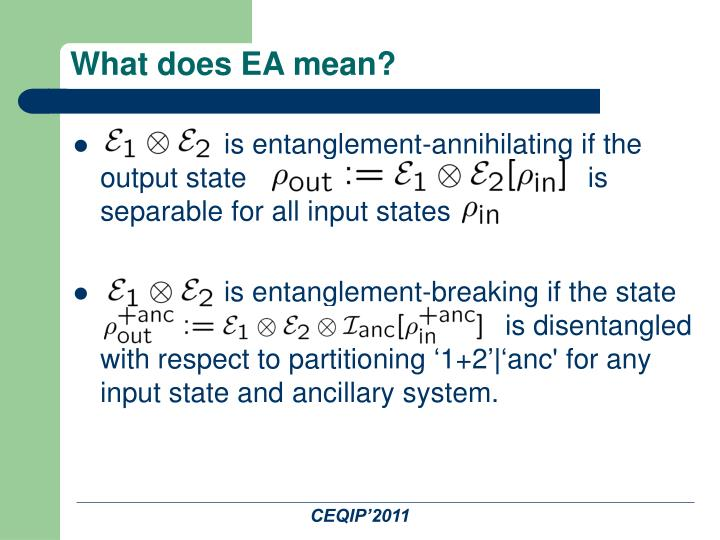 What does EA mean?