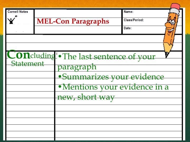 MEL-Con Paragraphs