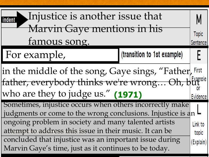 Injustice is another issue that Marvin Gaye mentions in his famous song.