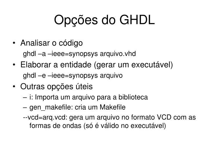 Opções do GHDL