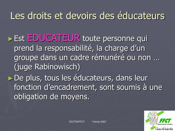 Les droits et devoirs des éducateurs