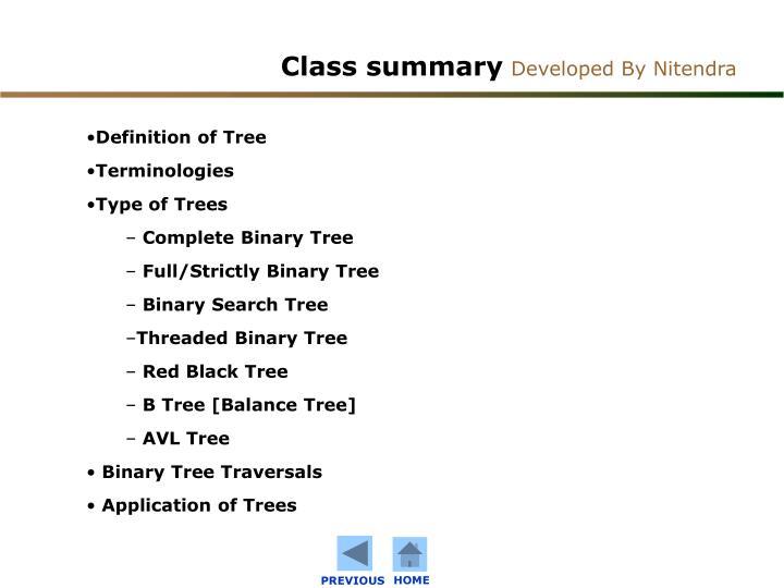 Class summary