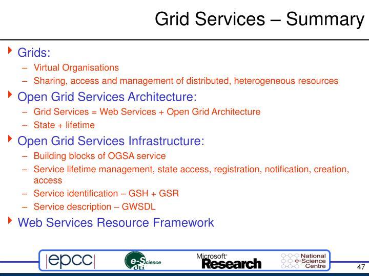 Grid Services – Summary