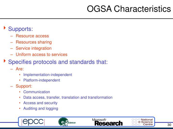 OGSA Characteristics
