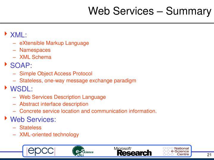 Web Services – Summary