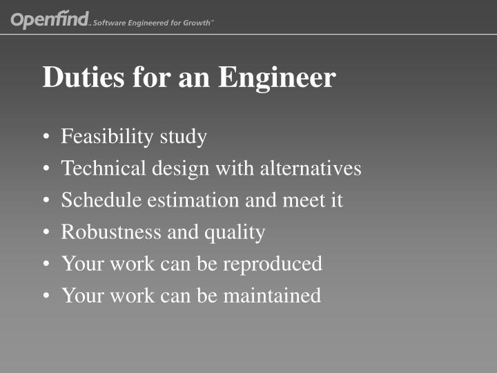 Duties for an Engineer