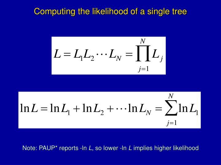 Computing the likelihood of a single tree