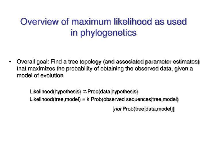Overview of maximum likelihood as used in phylogenetics
