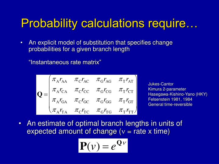 Probability calculations require…