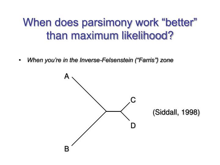 "When does parsimony work ""better"" than maximum likelihood?"