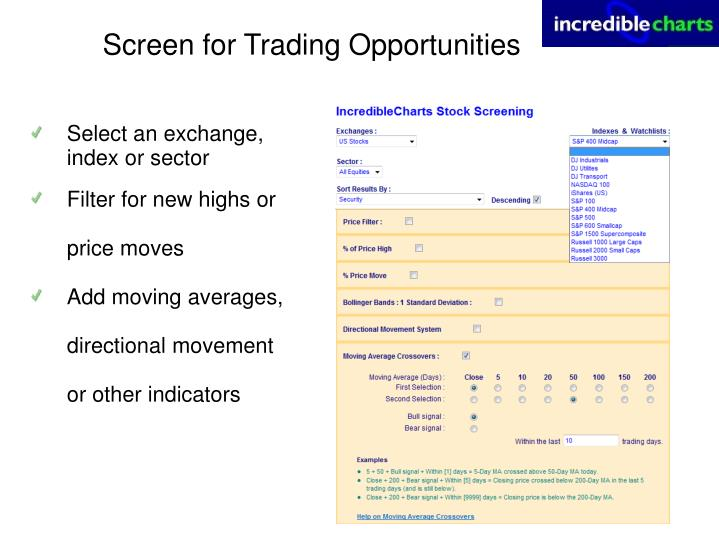 Screen for Trading Opportunities