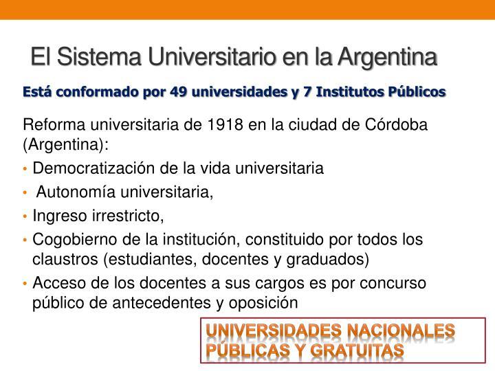 El Sistema Universitario en la Argentina