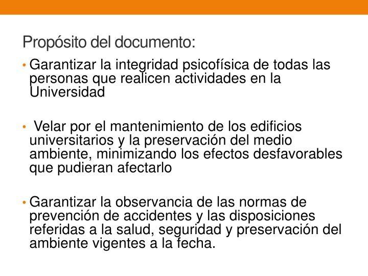 Propósito del documento: