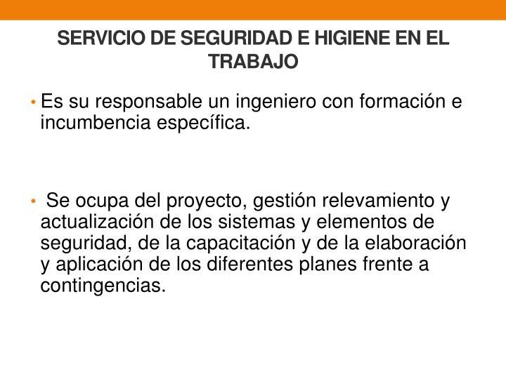 SERVICIO DE SEGURIDAD E HIGIENE EN EL TRABAJO