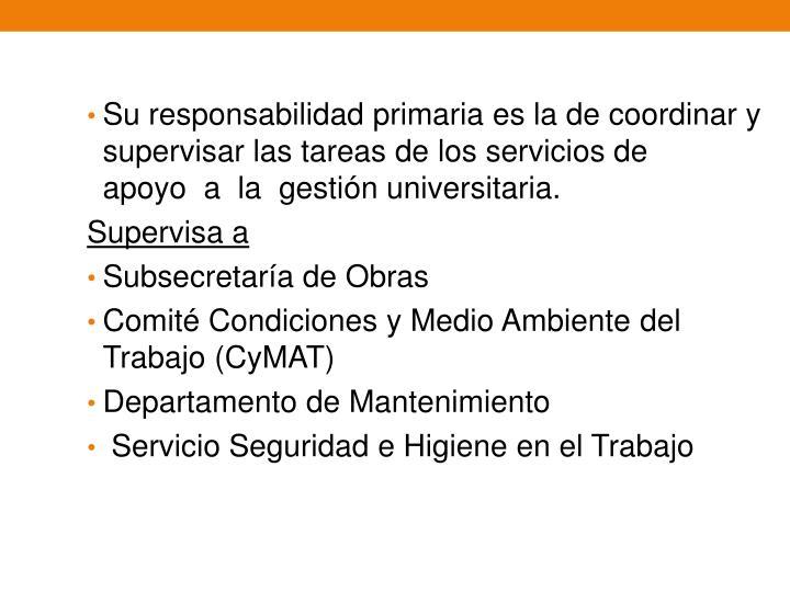 Su responsabilidad primaria es la de coordinar y supervisar las tareas de los servicios de apoyoala gestión universitaria.