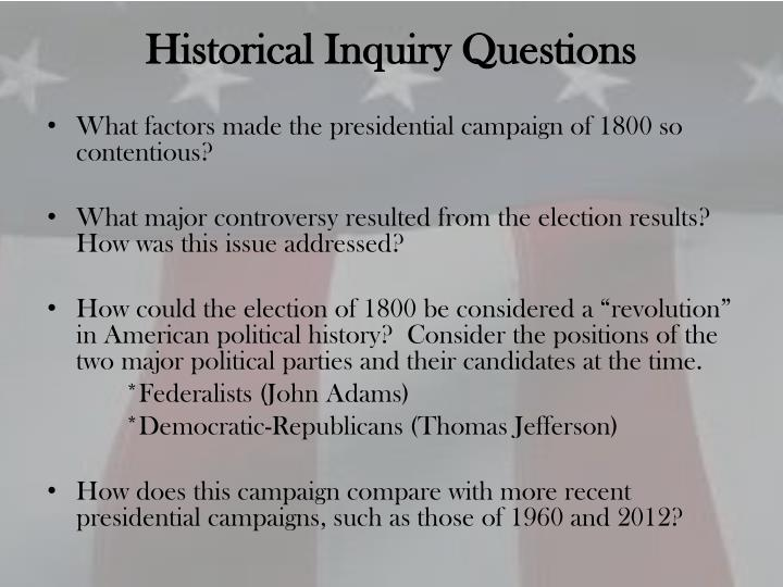 Historical inquiry questions