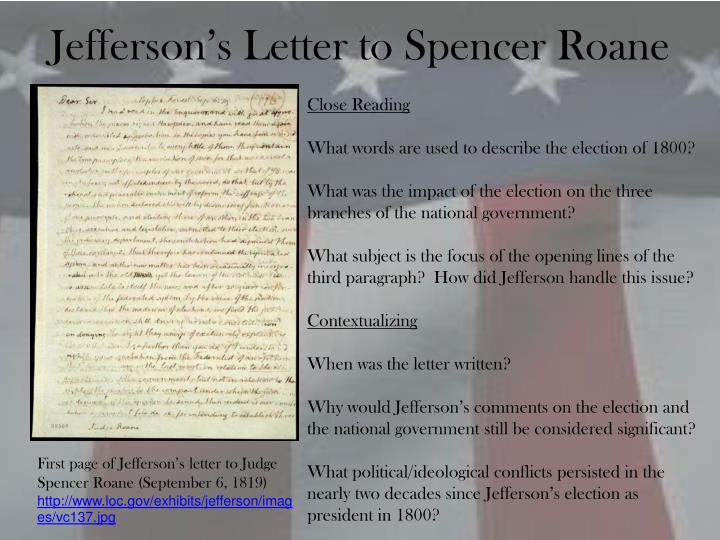 Jefferson's Letter to Spencer Roane
