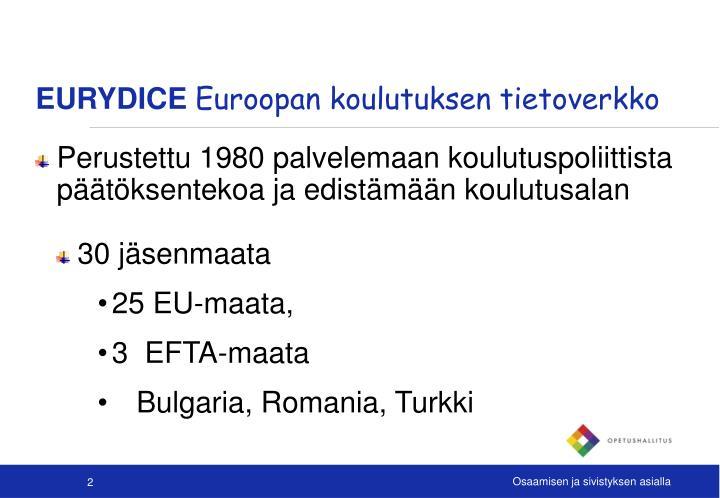 Eurydice euroopan koulutuksen tietoverkko