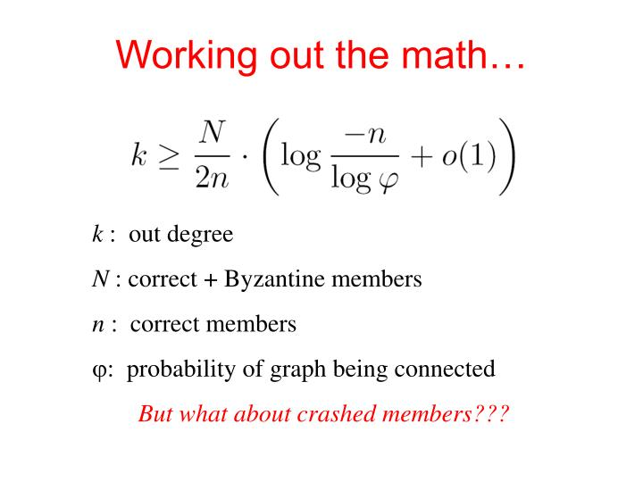 Working out the math…