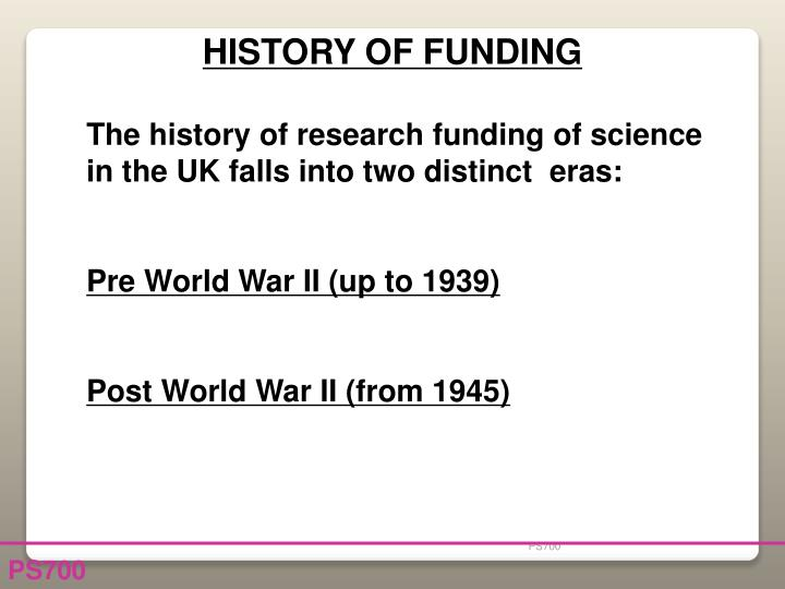 HISTORY OF FUNDING