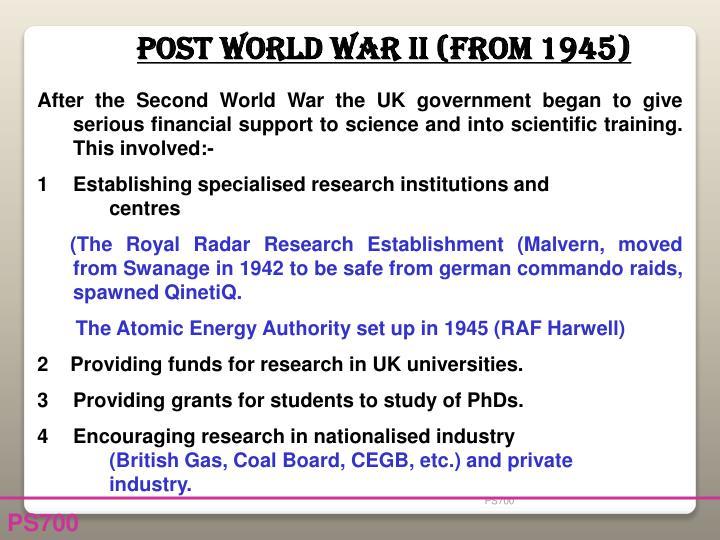 Post World War II (from 1945)