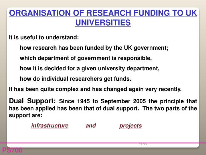 ORGANISATION OF RESEARCH FUNDING TO UK UNIVERSITIES