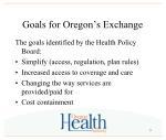 goals for oregon s exchange