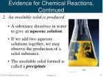 evidence for chemical reactions continued