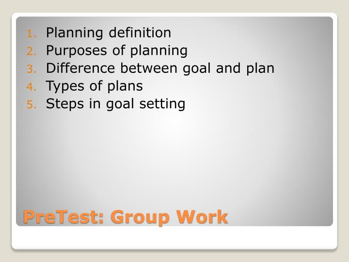 define what is planning function of The planning function involves establishing goals and arranging them in logical order in organizations, planning is a management process, concerned with defining goals for company's future direction and determining on the missions and resources to achieve those targets.