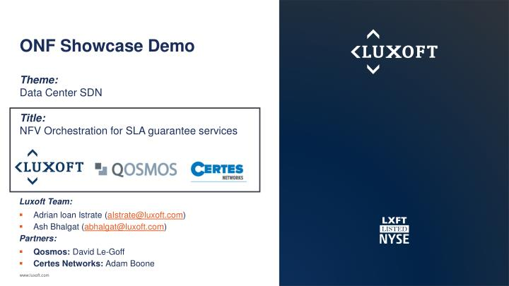 onf showcase demo theme data center sdn title nfv orchestration for sla guarantee services n.