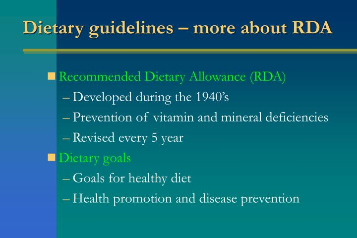 Dietary guidelines – more about RDA