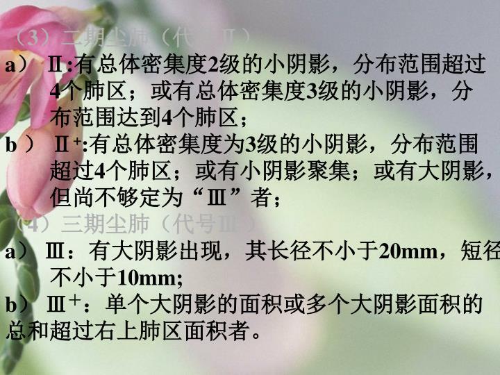 (3)二期尘肺(代号Ⅱ)
