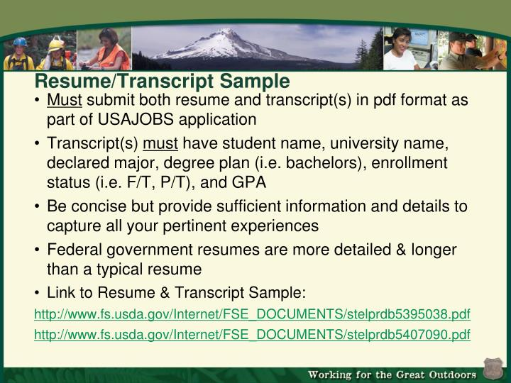 Resume/Transcript Sample