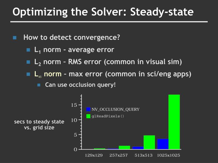 Optimizing the Solver: Steady-state