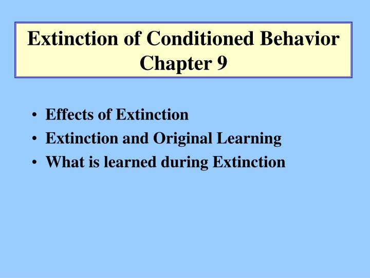 extinction of a conditioned stimulus essay