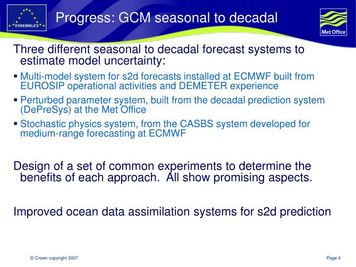 Progress: GCM seasonal to decadal