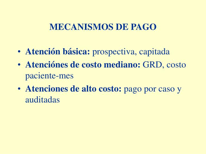 MECANISMOS DE PAGO
