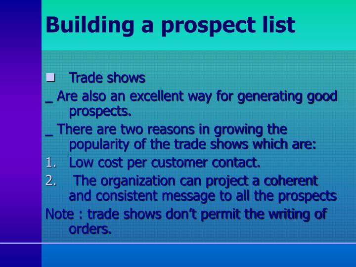 Building a prospect list