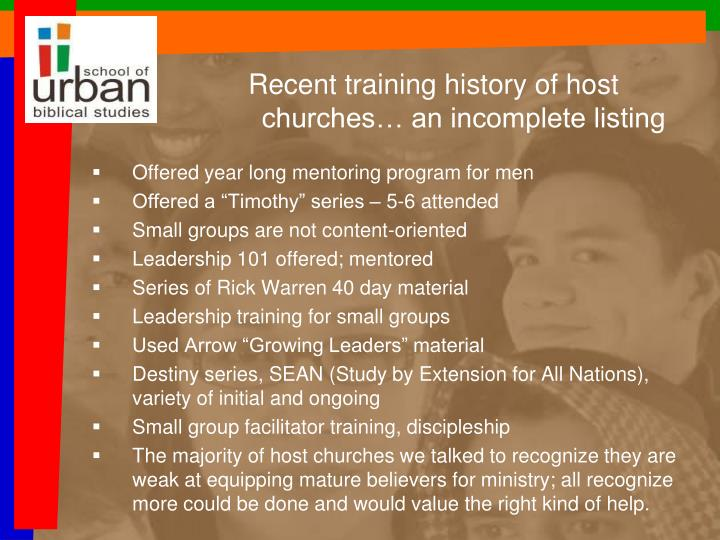 Recent training history of host churches… an incomplete listing