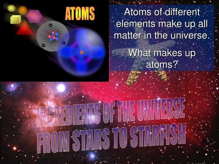 Atoms of different elements make up all matter in the universe.
