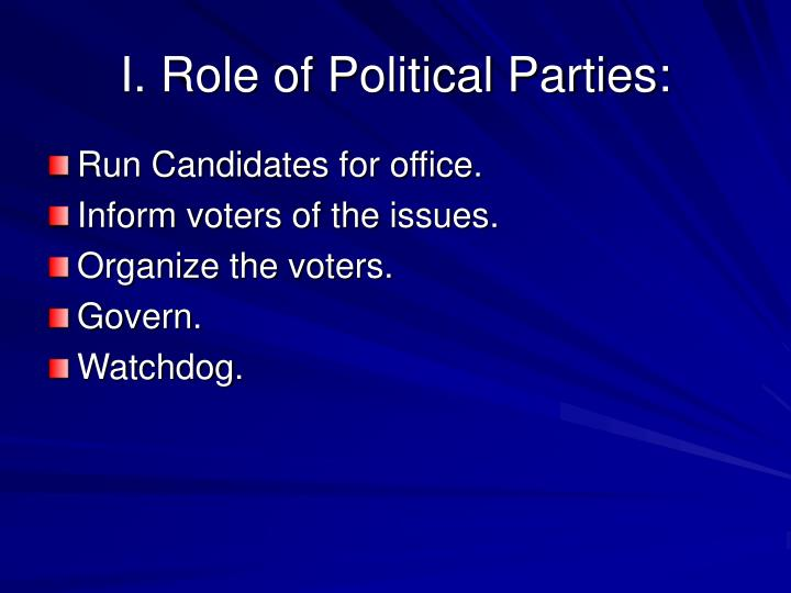 I. Role of Political Parties: