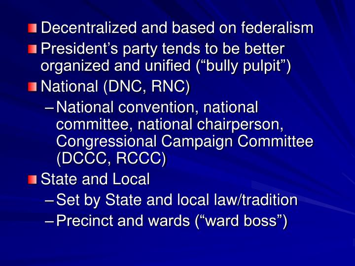 Decentralized and based on federalism