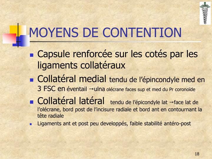 MOYENS DE CONTENTION