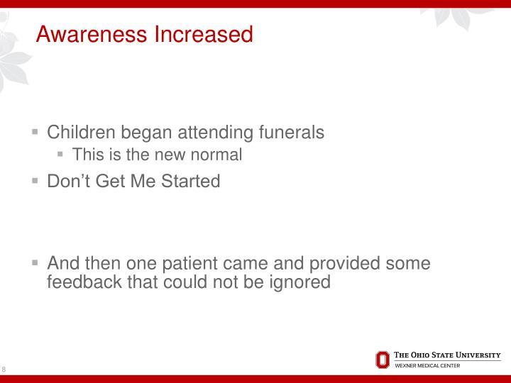 Awareness Increased
