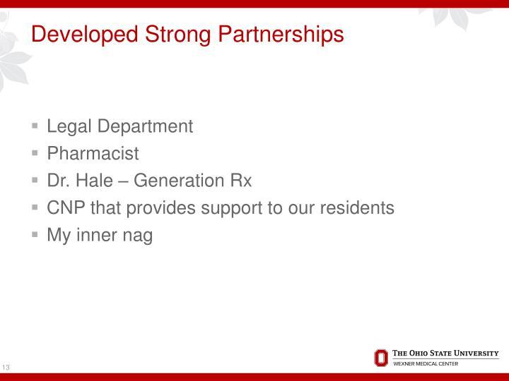 Developed Strong Partnerships