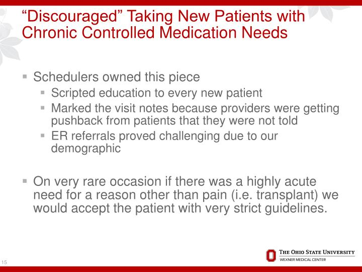 """""""Discouraged"""" Taking New Patients with Chronic Controlled Medication Needs"""