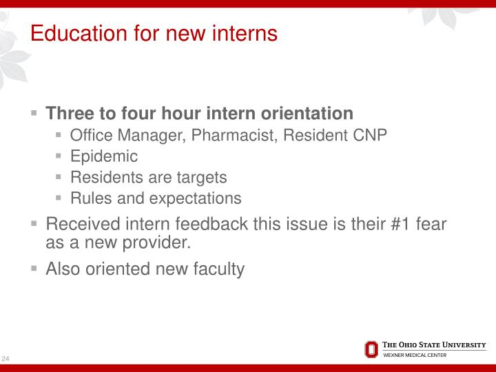 Education for new interns