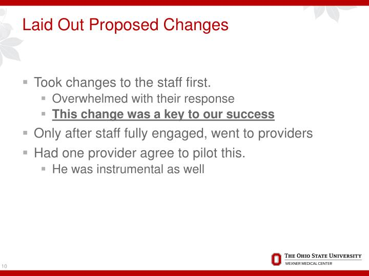 Laid Out Proposed Changes