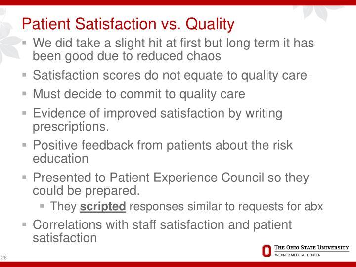Patient Satisfaction vs. Quality