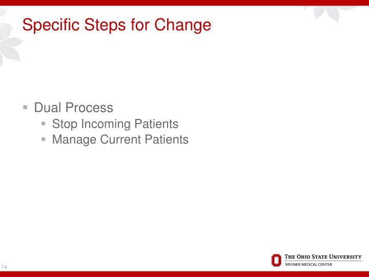 Specific Steps for Change
